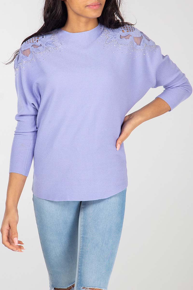 Diamond & Crochet Shoulder Detail Batwing Jumper