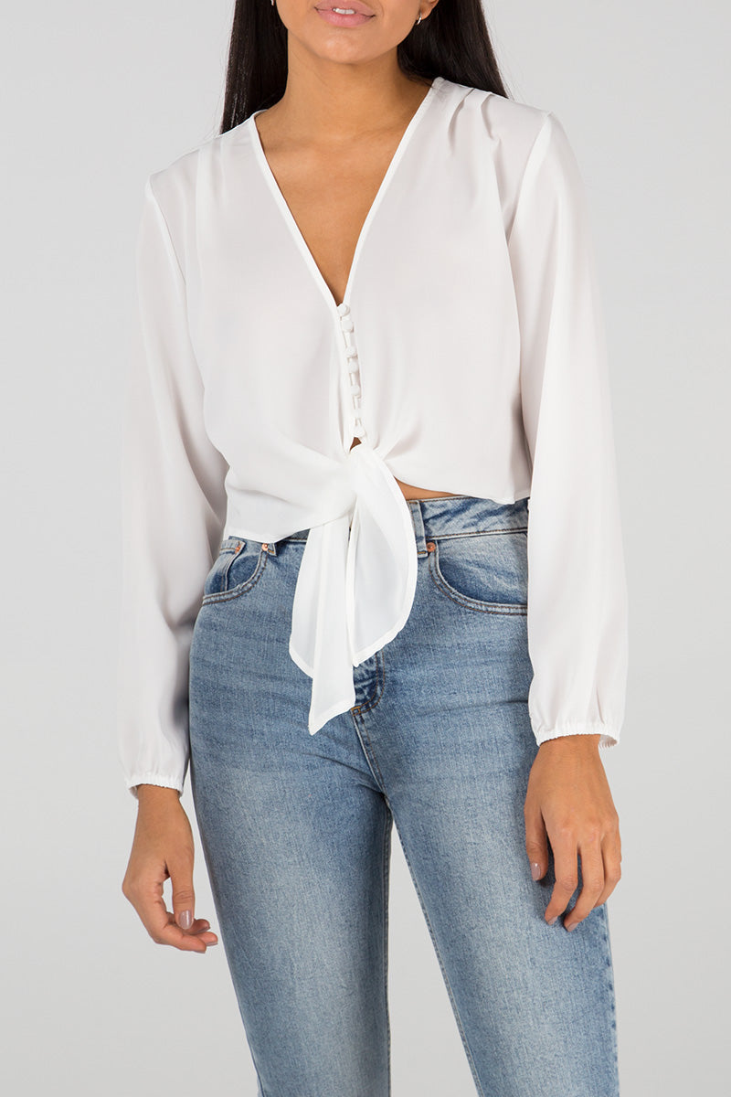 Multi Button Tie Front Top