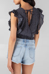 Double V Frill Sleeve Tie Front Top