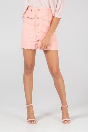 Button Through Double Pocket Mini Skirt