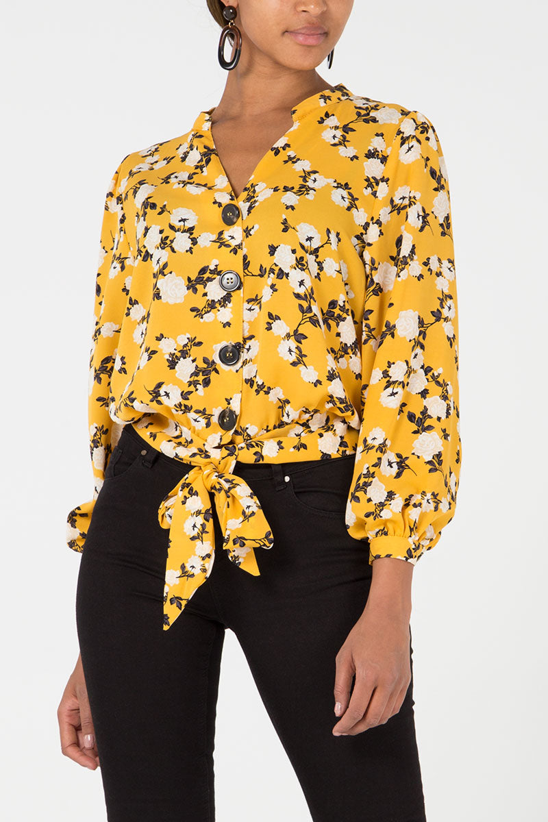 Floral Button Through Tie Front Blouse