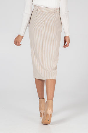 Stripe Button Skirt