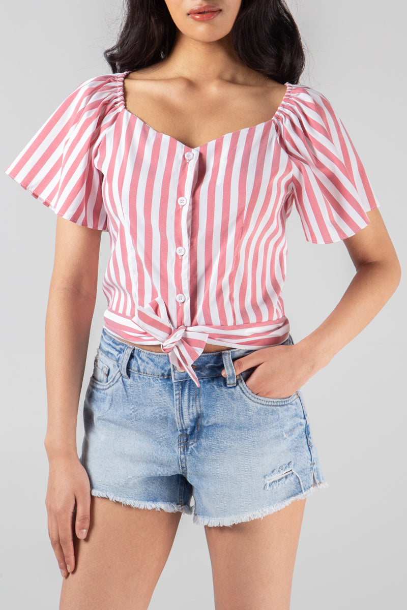 Stripe Milkmaid Tie Front Crop Top