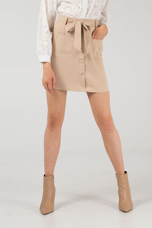 Two Pocket Belted Mini Skirt