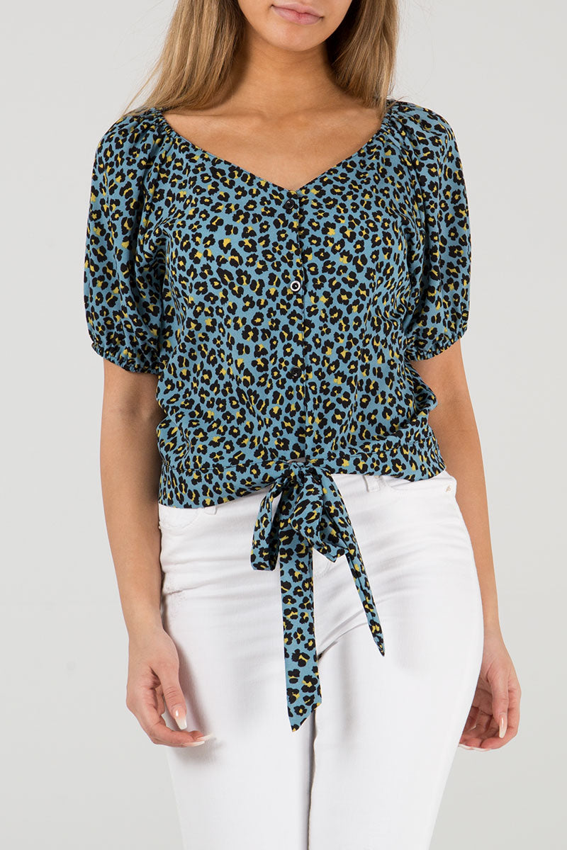 Button Front Tie Top