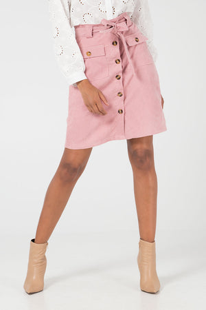 Babycord Button Front Skirt
