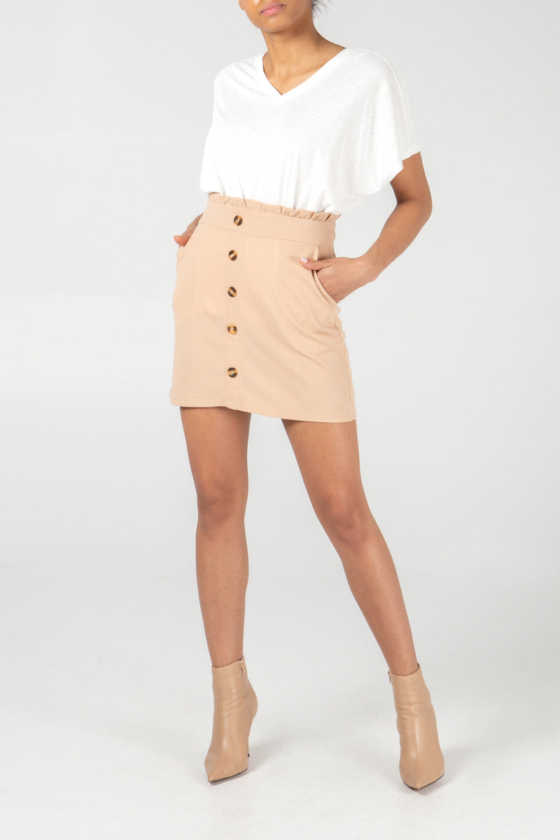 Button Front Paperbag Mini Skirt