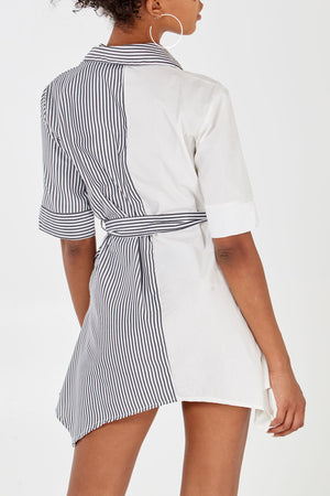 Stripe A-Line Collared Shirt Dress