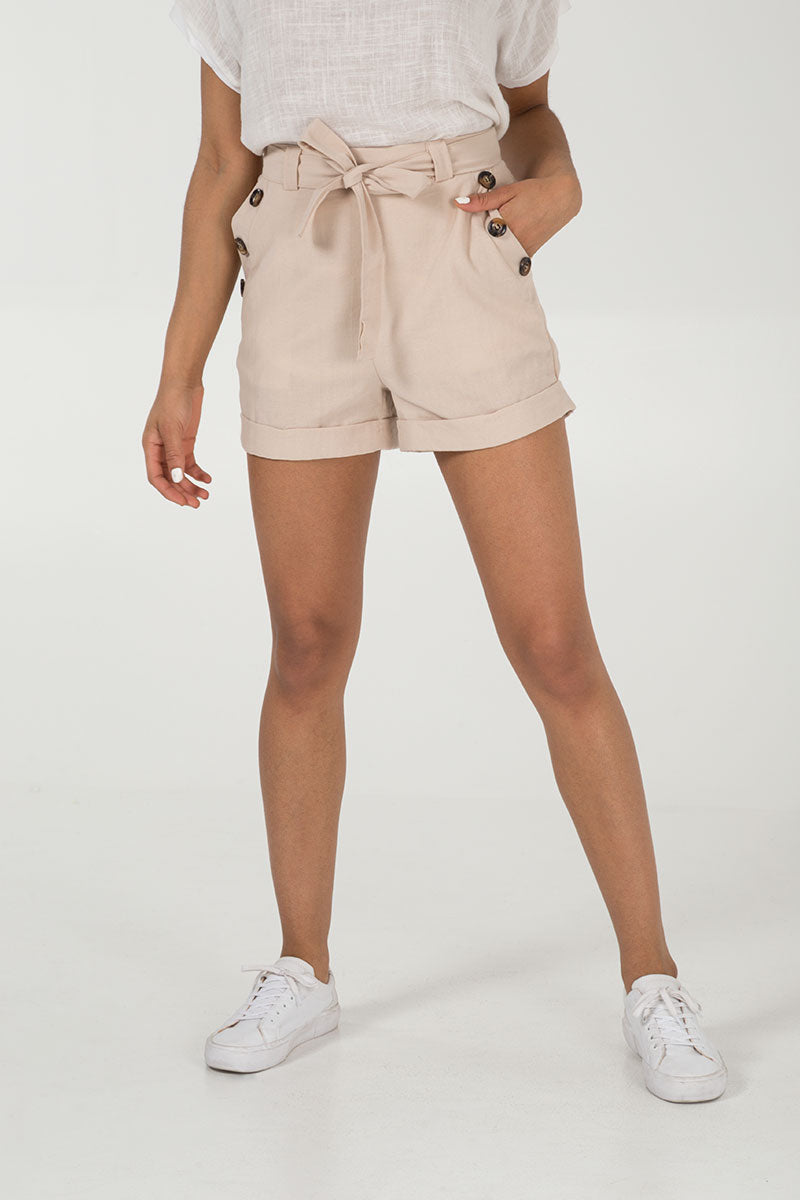 High Waist Button Detailed Shorts