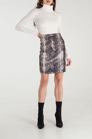 Snake Skin Faux Leather Skirt