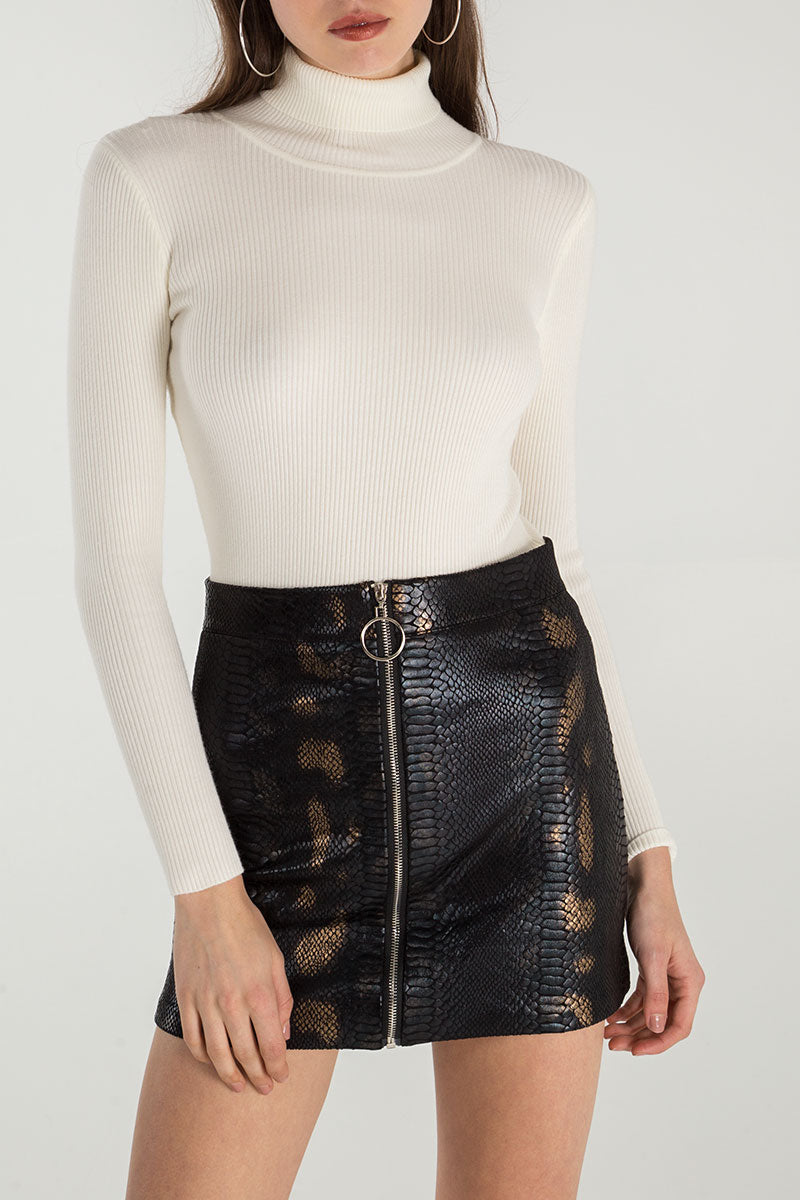 Zip Front Snake Skin Mini Skirt