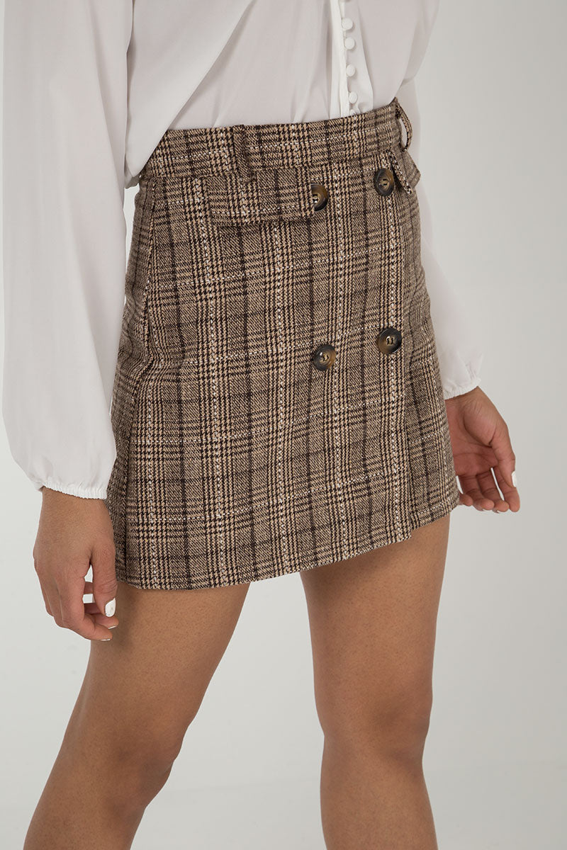 Checked Button Front Mini Skirt