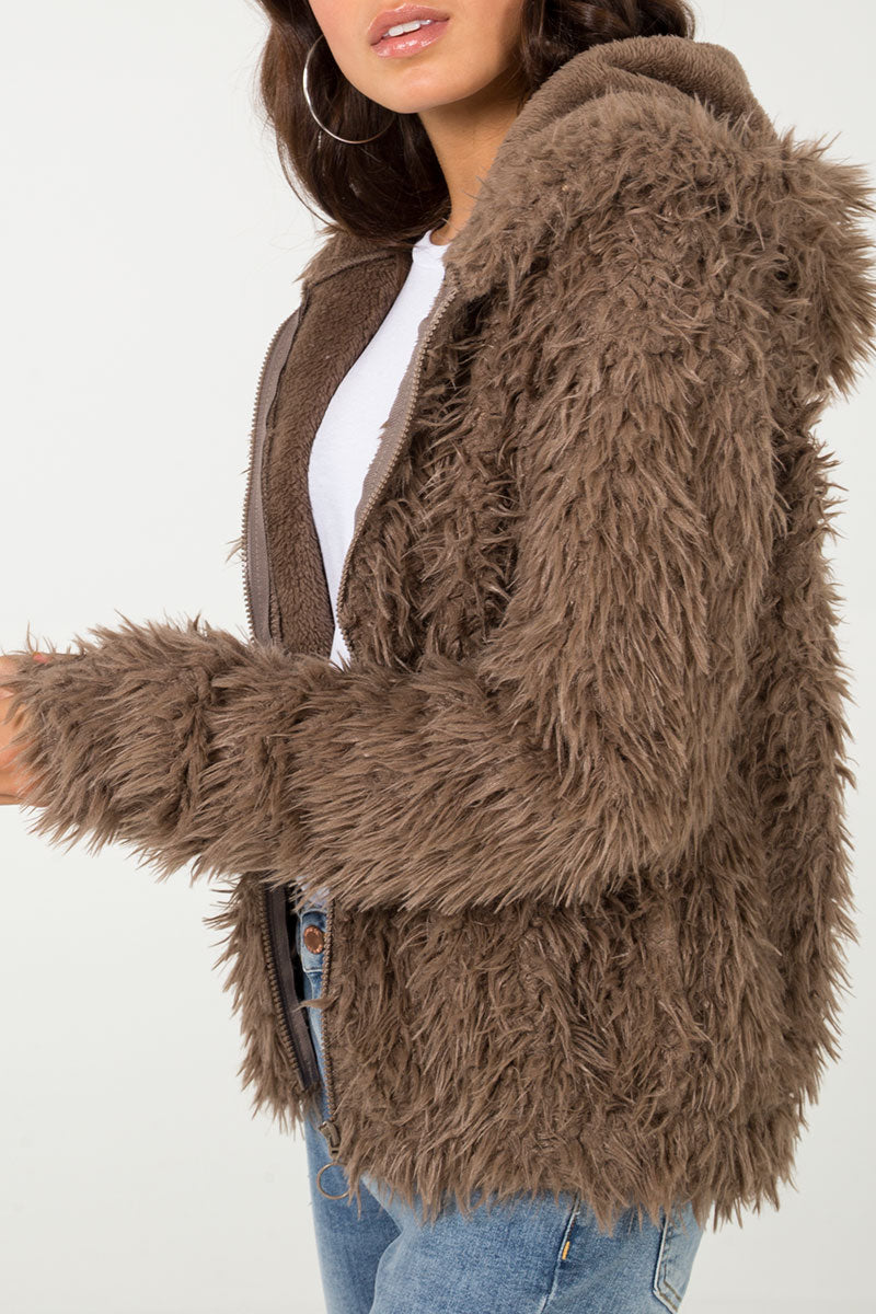 Zip Front Shaggy Fur Jacket