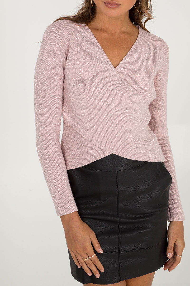 Cross Front Lurex Jumper
