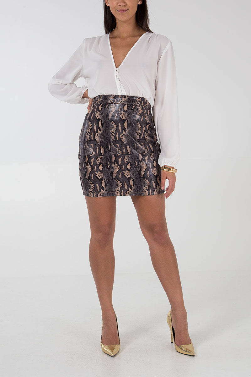 Reptile Print Mini Skirt