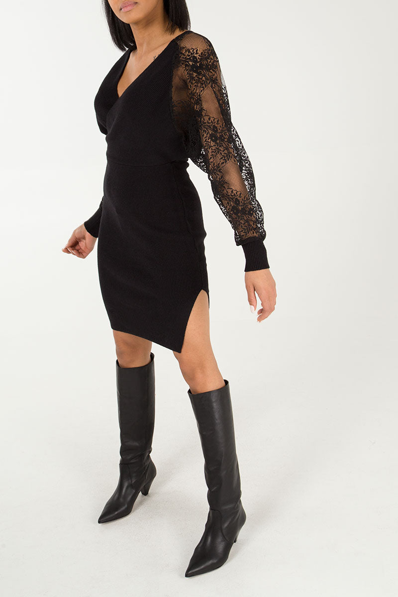 V-Neck Balloon Lace Sleeve Knitted Dress