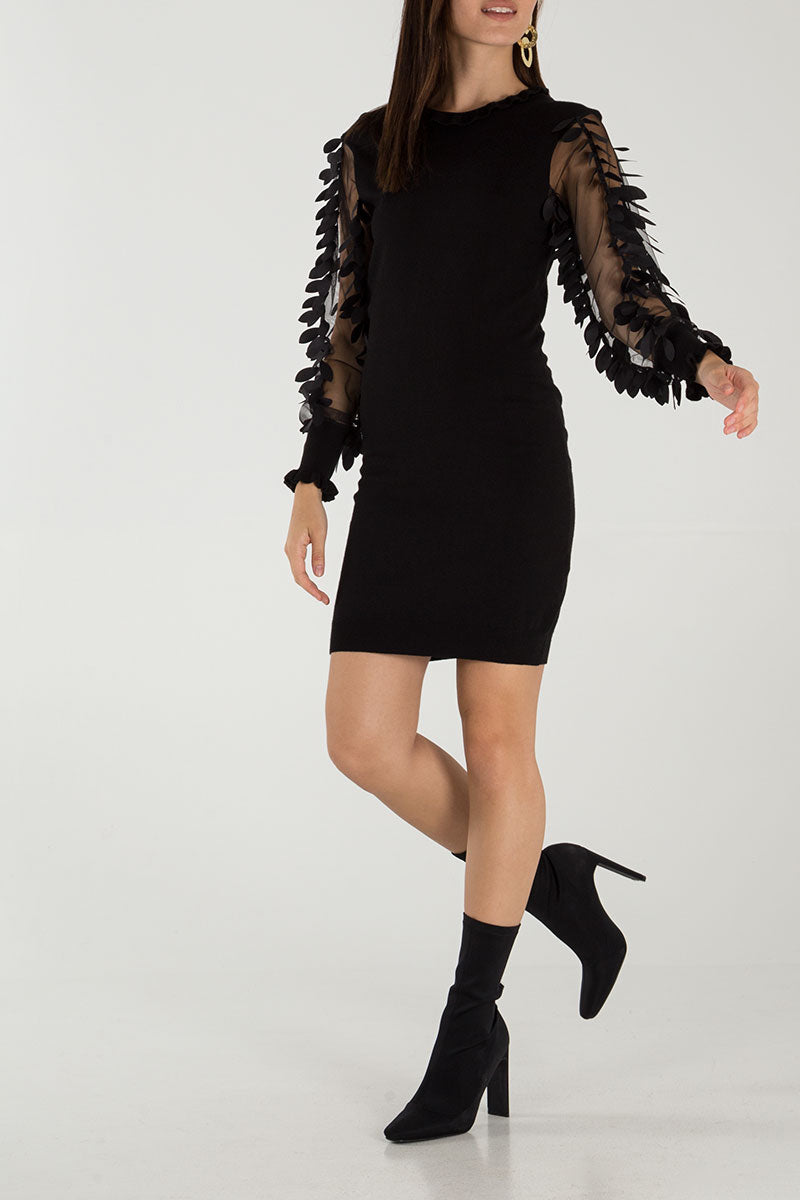 Leaf Mesh Sleeve Knitted Dress