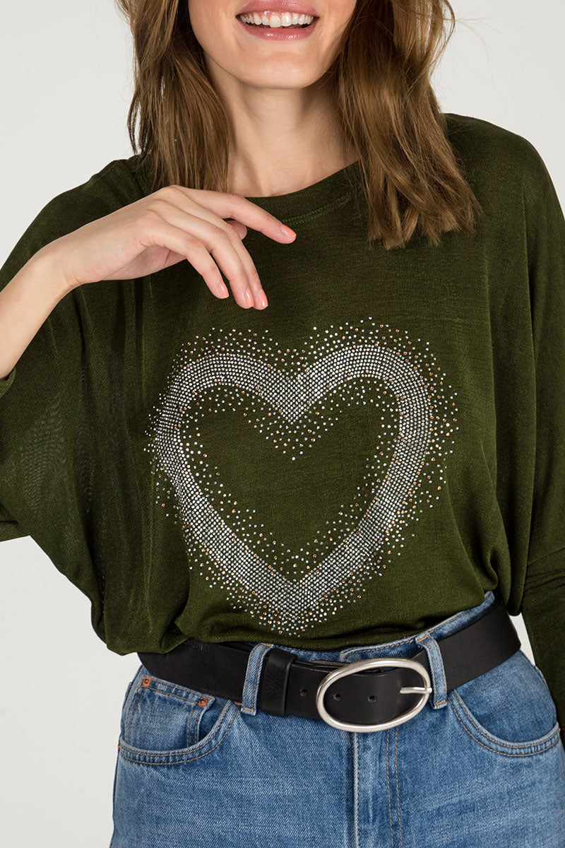Diamante Heart Batwing Top