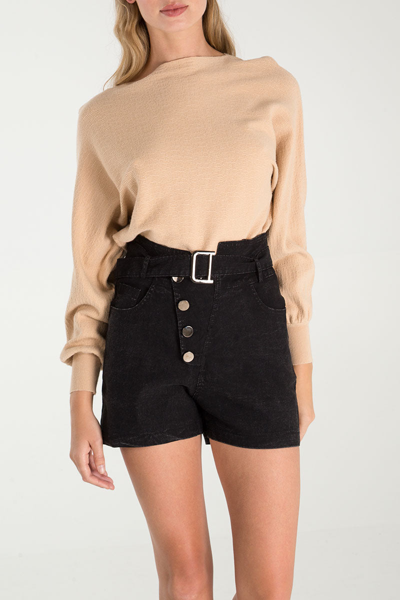 Wash Denim Button Detail Shorts