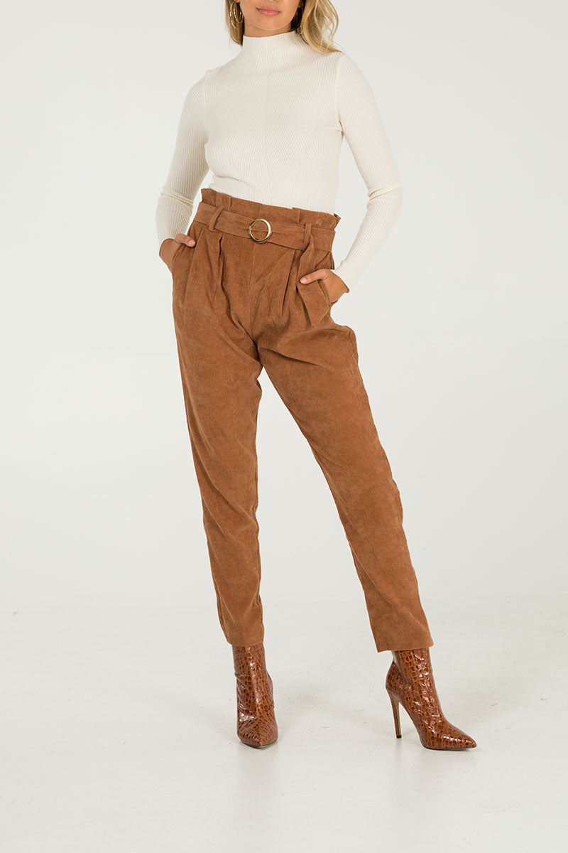 Cord Belted Trousers