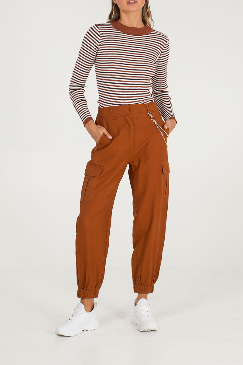 Chain Detail Patch Pocket Trousers