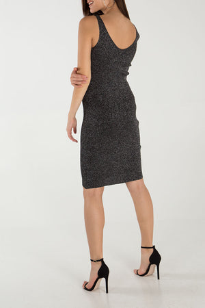 Zip Front Metallic Midi Dress