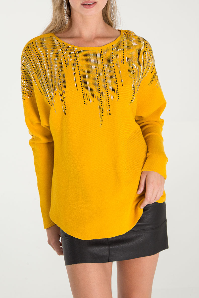 Diamante Detail Batwing Jumper