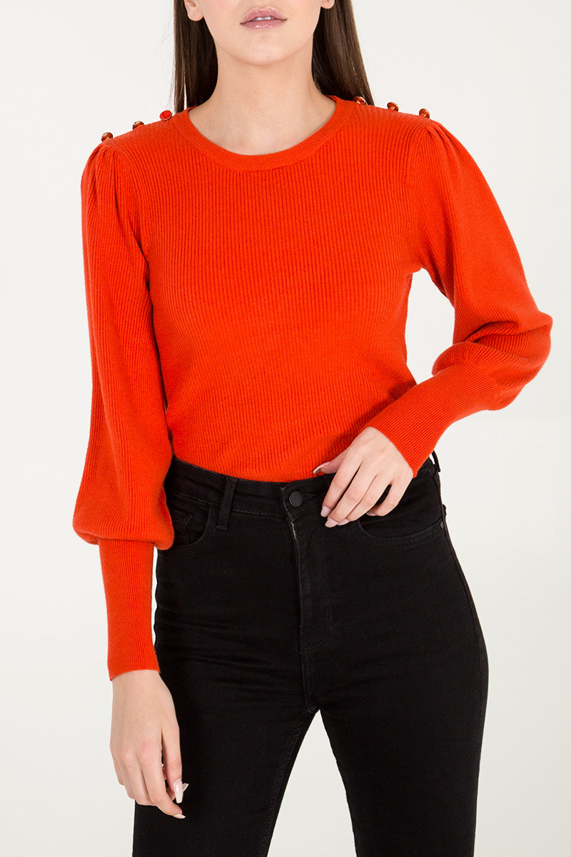 Button Shoulder Gathered Sleeve Jumper