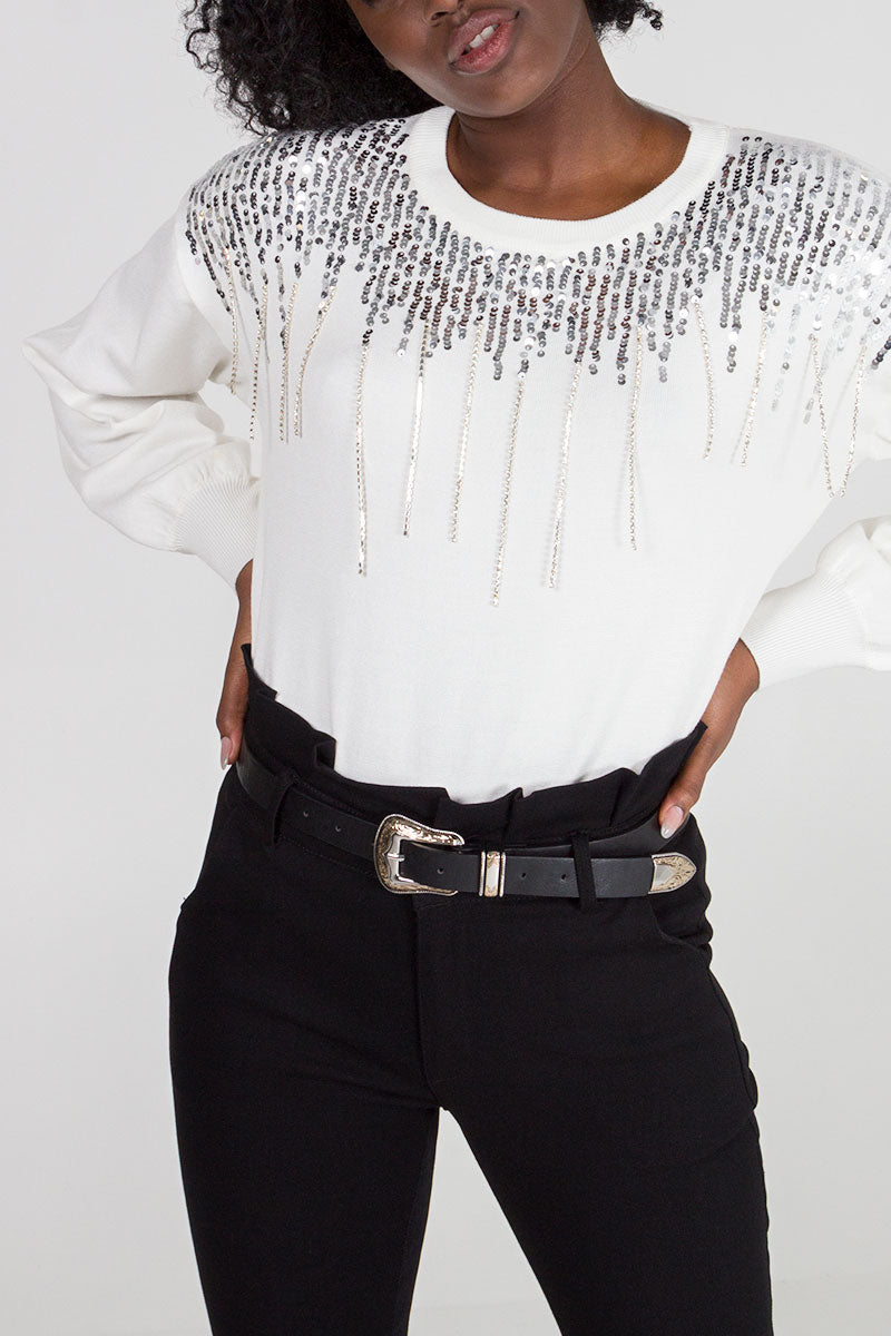 Sequin & Diamante Drop Jumper
