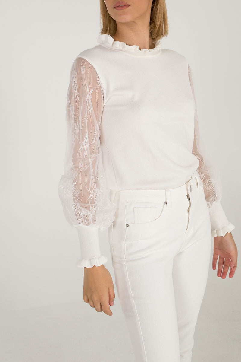 Lace Bishop Sleeve Jumper