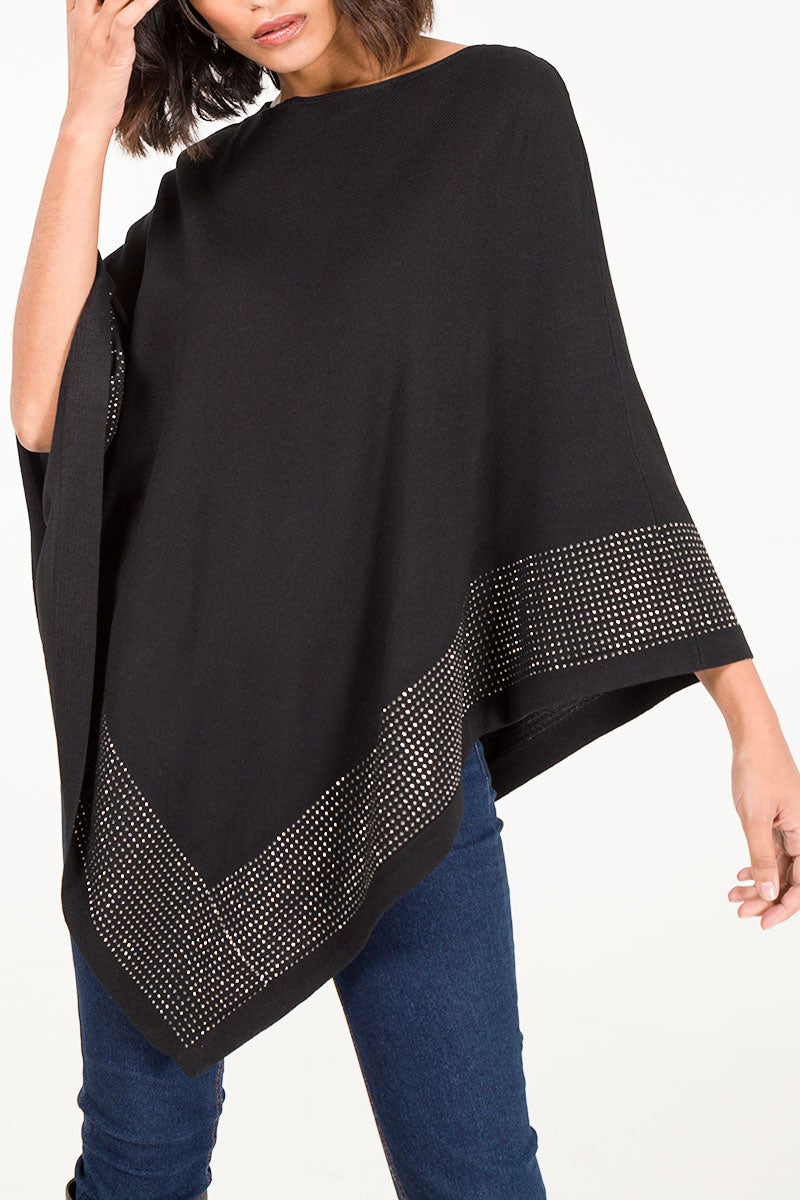 Diamante Border Knitted Poncho