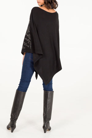 Abstract Diamante Knitted Poncho