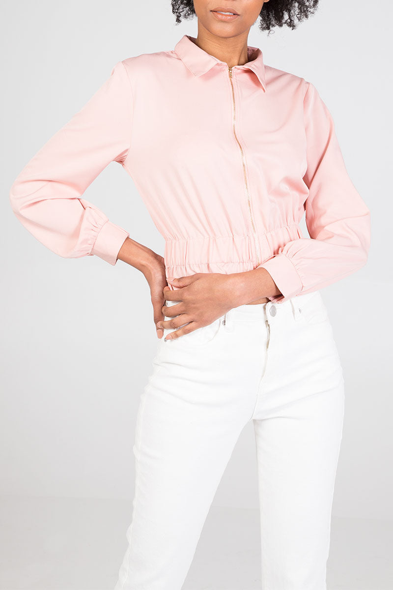 Elasticated Peplum Zip Jacket