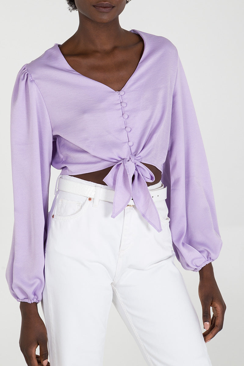 Button Front Gathered Sleeve Tie Blouse