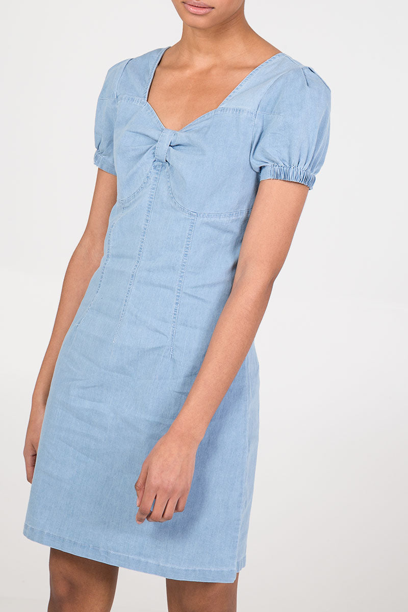 Sweetheart Neck Denim Dress