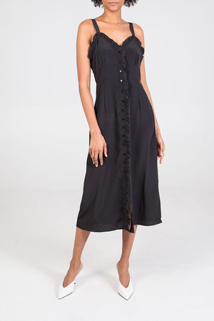 Ruffle Edge Multi Button Midi Dress