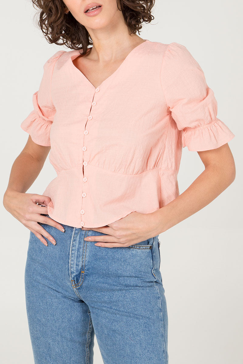 Dobby Cotton Button Front Peplum Top