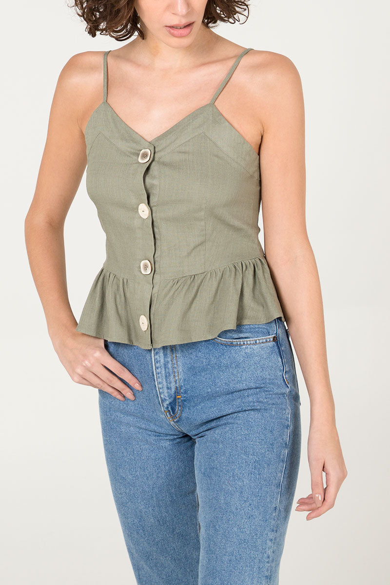 Multi Button Peplum Cami Top