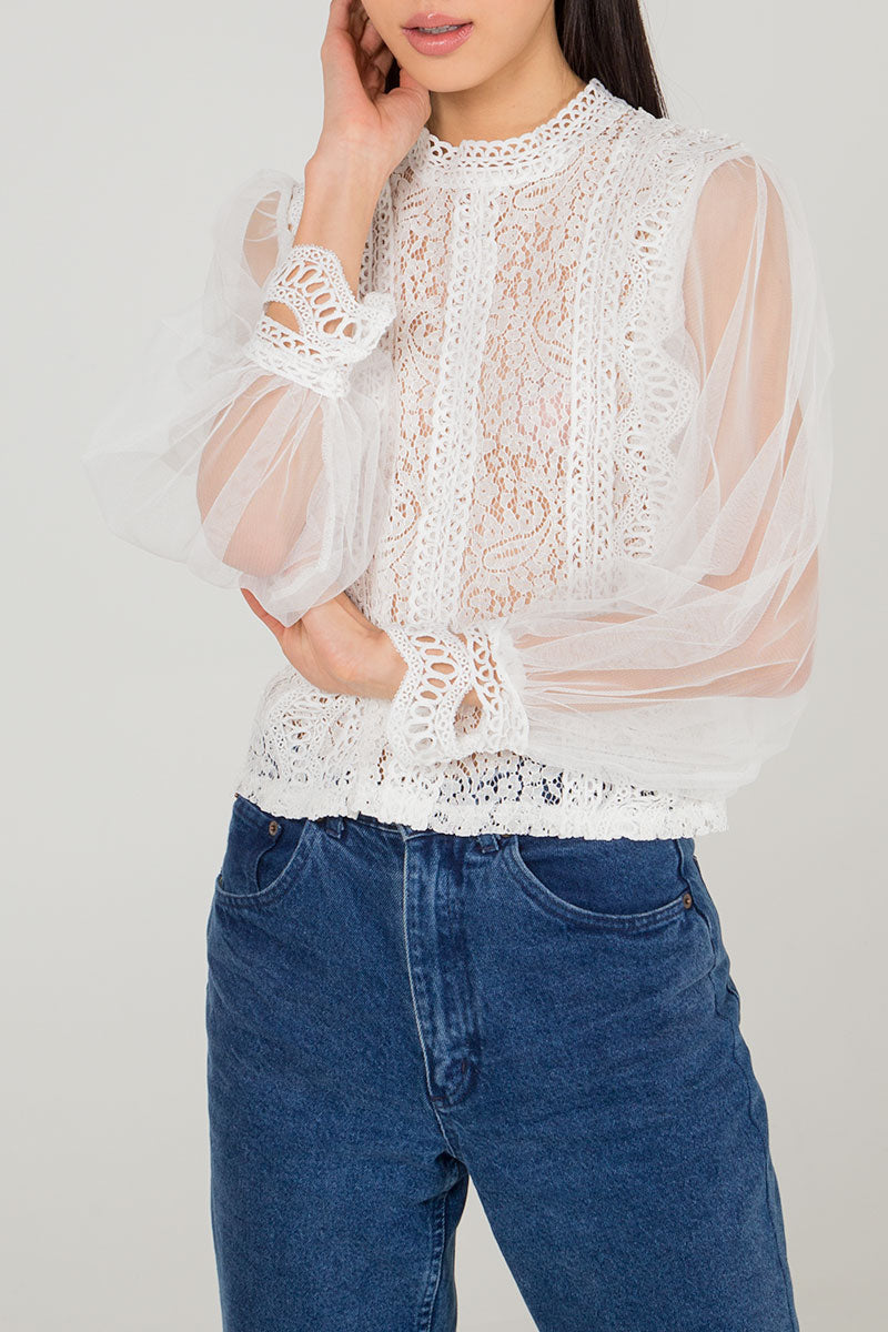 Net Sleeve Lace Crochet Blouse