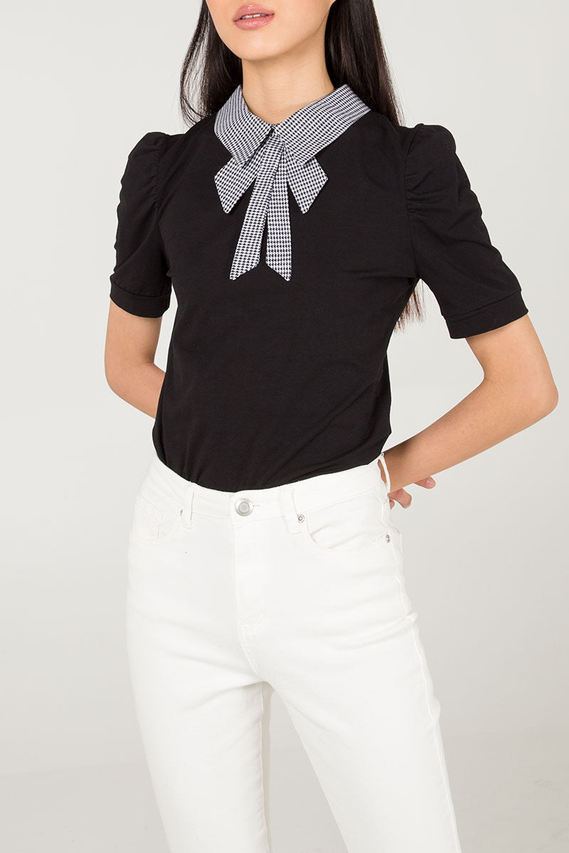 Dogtooth Collar Gathered Sleeve Top