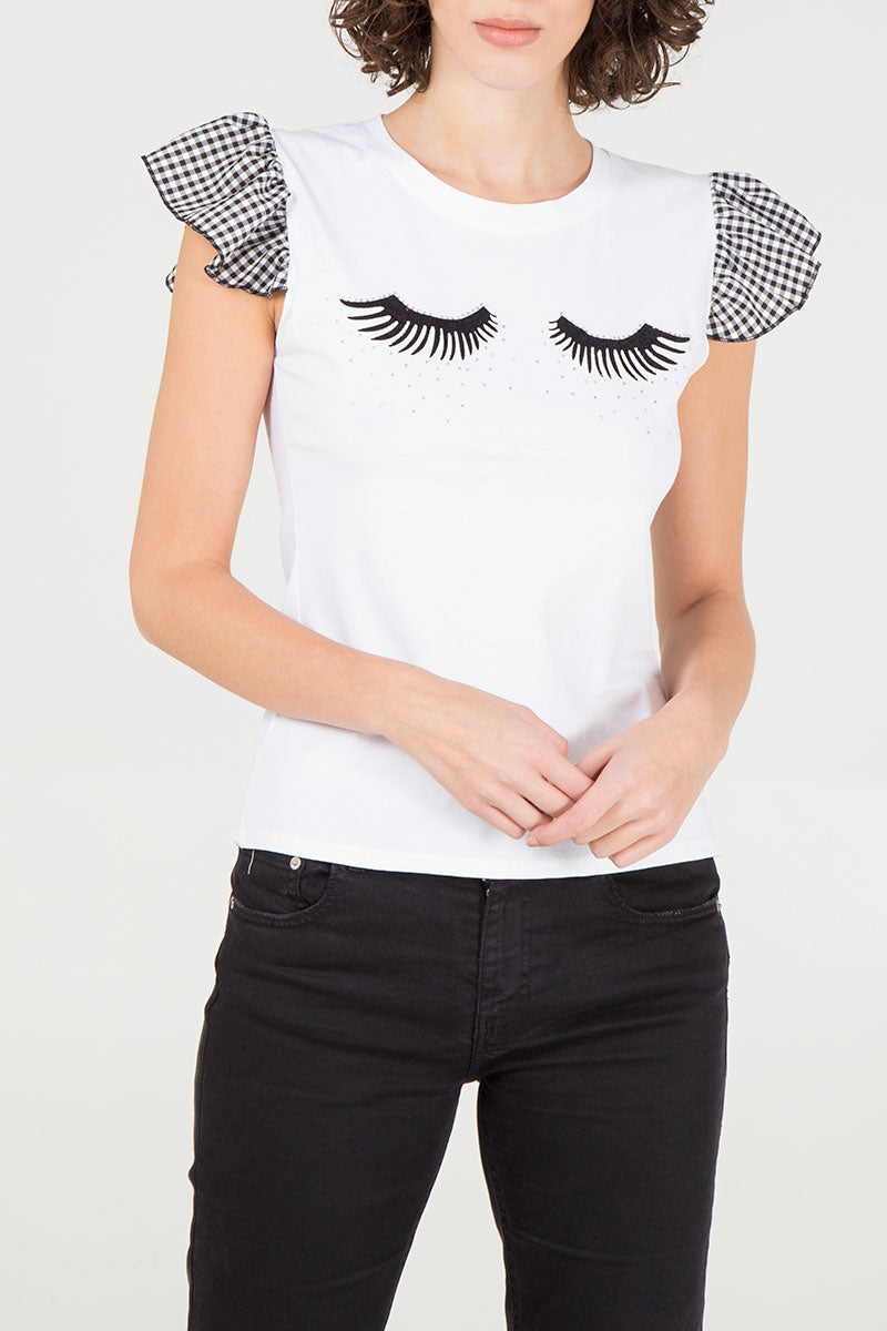 Eyelash Diamante Gingham Sleeve T-Shirt