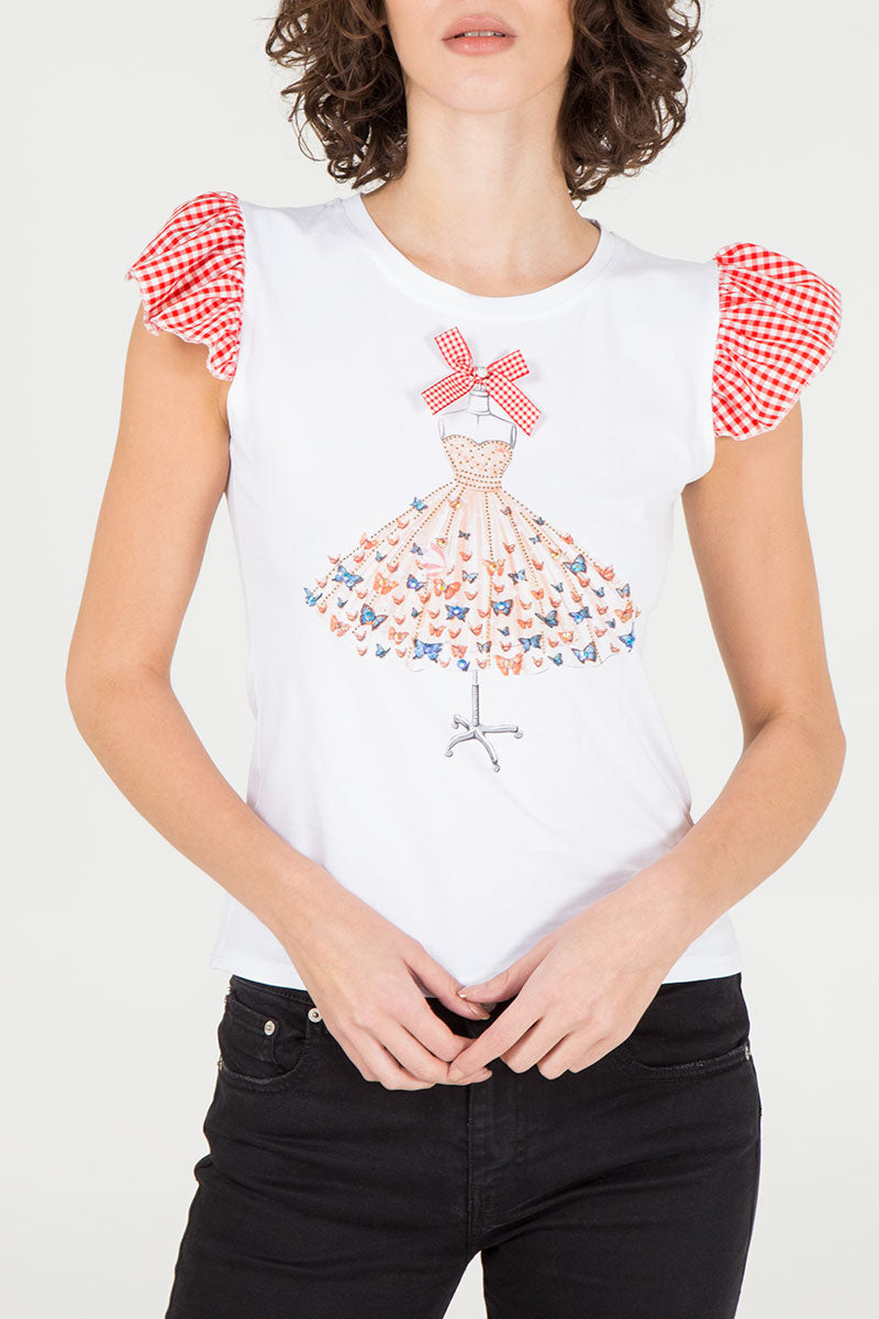 Gingham Frill Sleeve T-Shirt