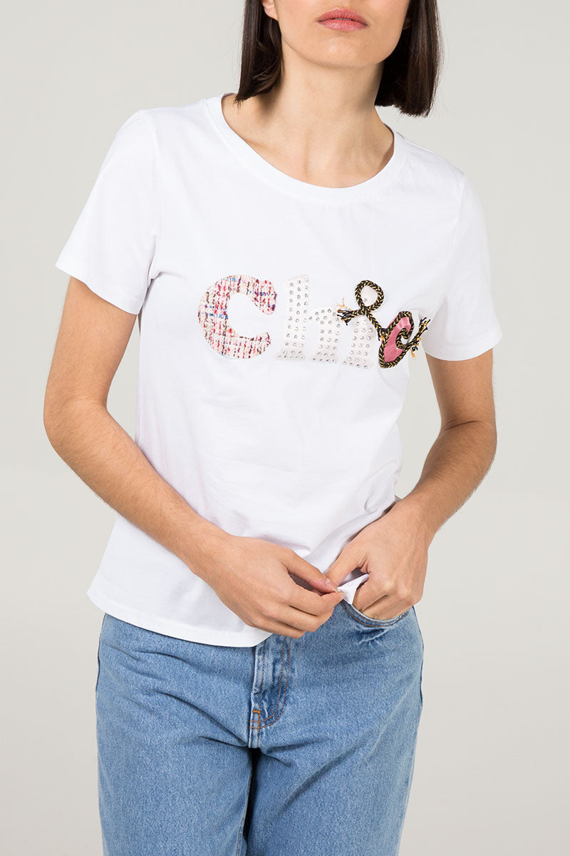 'Chic' Embroidered T-Shirt