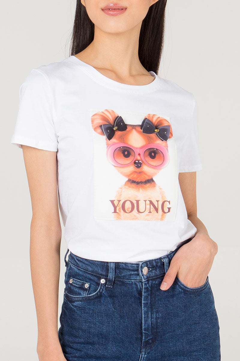 Cute Puppy Print T-Shirt