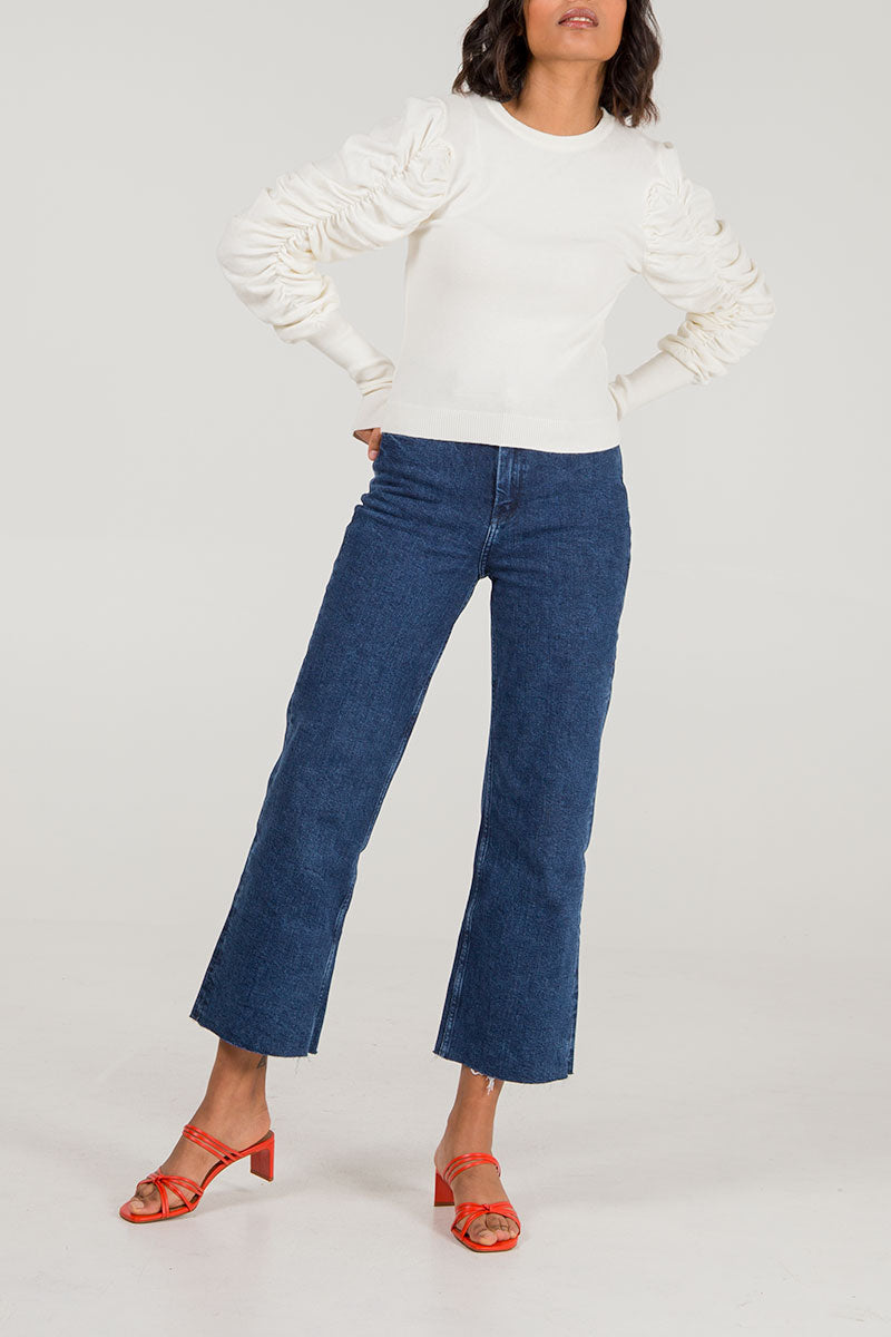 Ruched Volume Sleeve Jumper