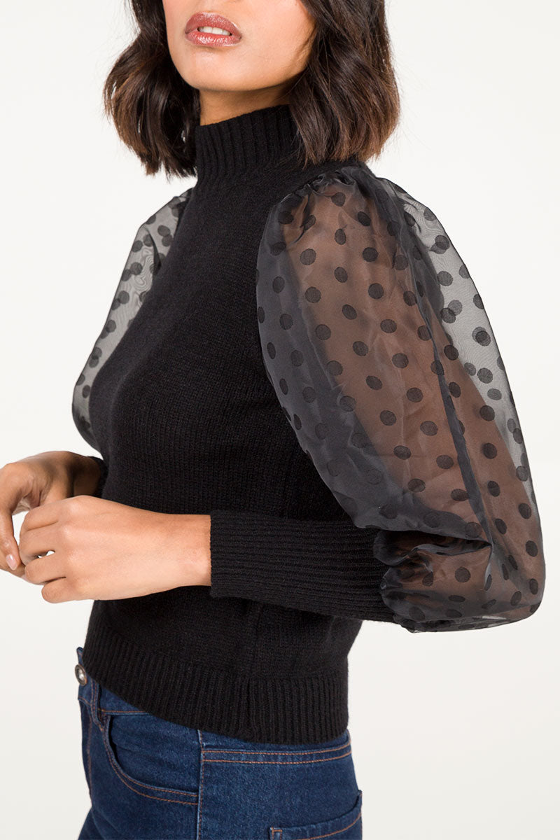 Polka Dot Organza Sleeve Jumper