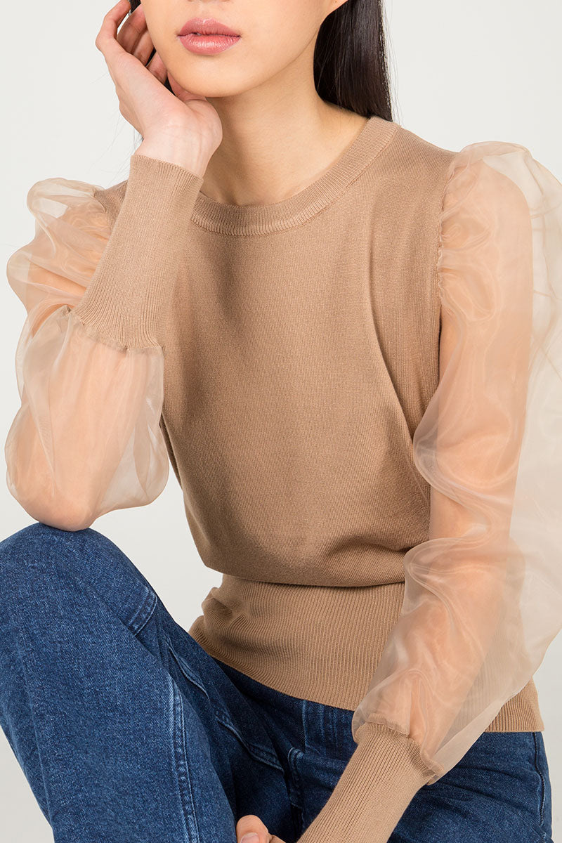 Organza Puff Sleeve Jumper