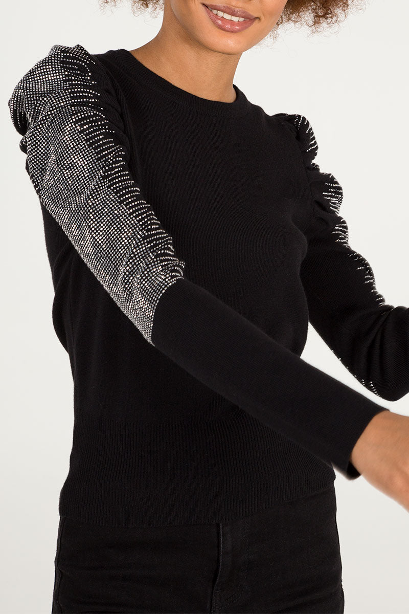 Diamante Puff Sleeve Jumper