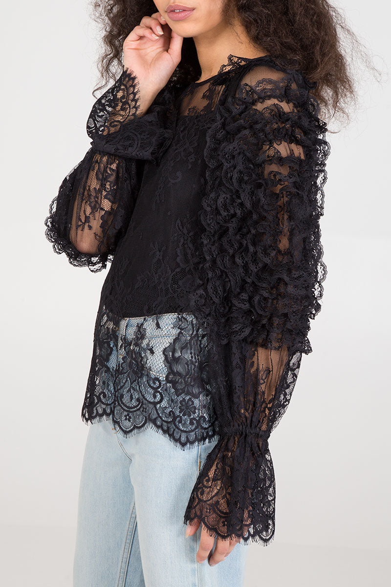Scallop Hem Lace Blouse
