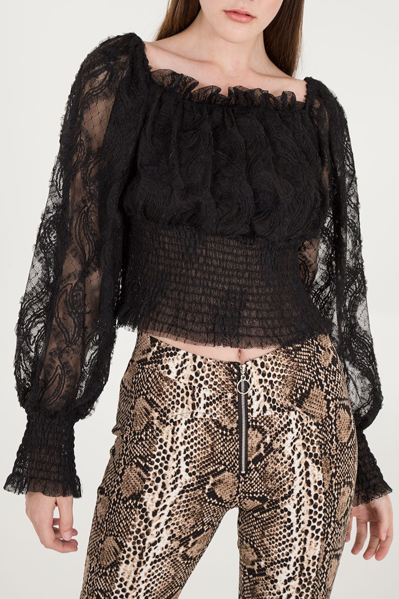 Balloon Sleeve Lace Shirred Top